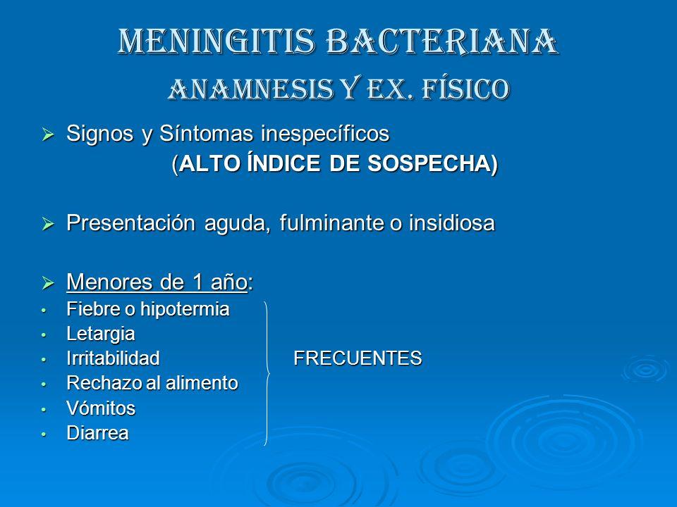 MENINGITIS BACTERIANA Anamnesis y Ex. Físico