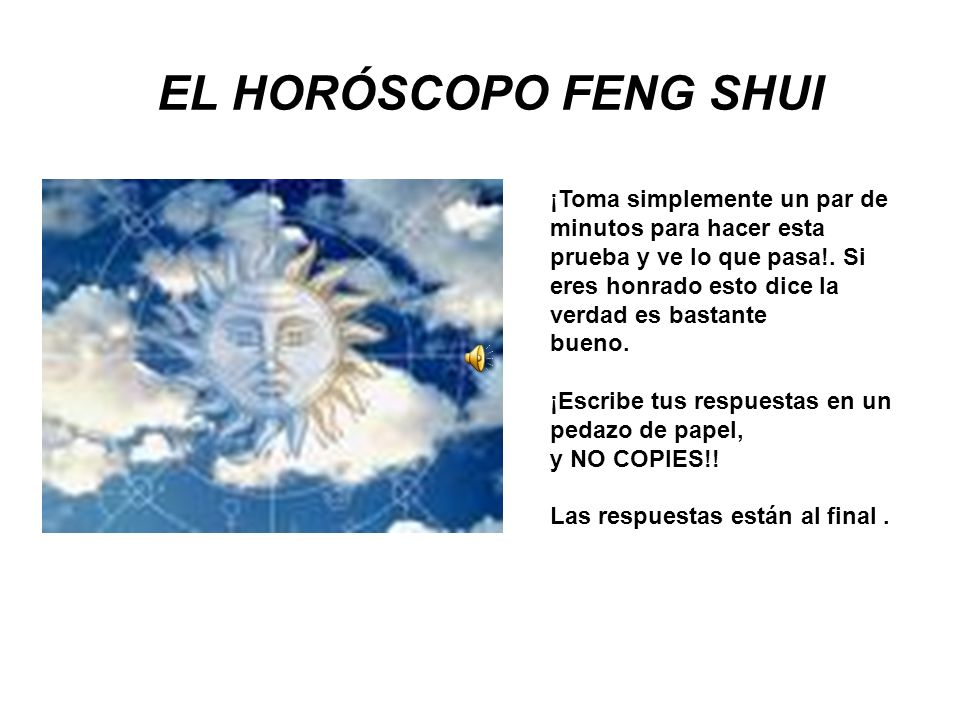 EL HORÓSCOPO FENG SHUI