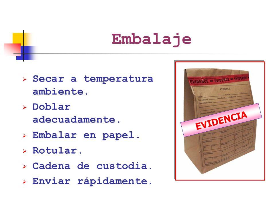 Embalaje Secar a temperatura ambiente. Doblar adecuadamente.