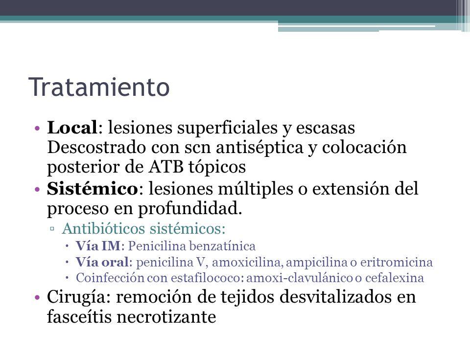Tratamiento Local: lesiones superficiales y escasas Descostrado con scn antiséptica y colocación posterior de ATB tópicos.