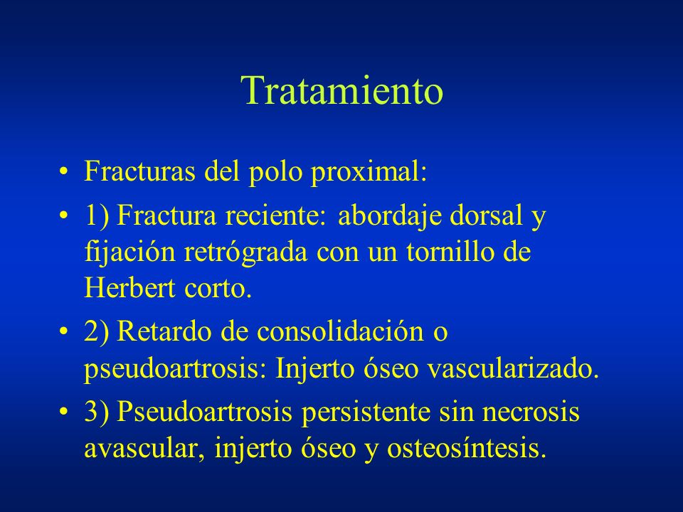 Tratamiento Fracturas del polo proximal: