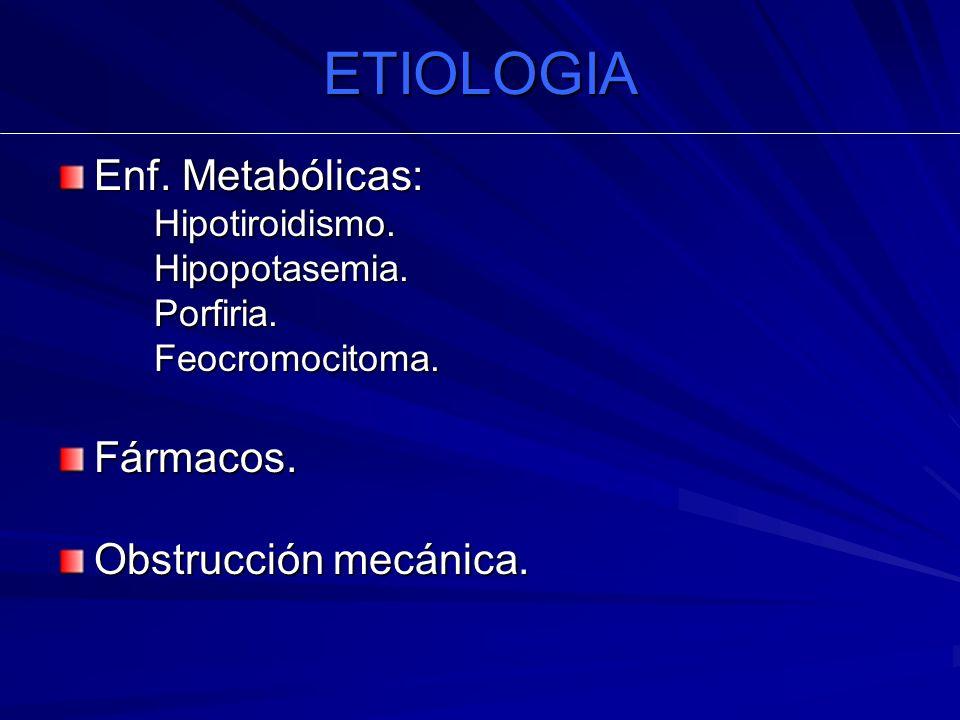 ETIOLOGIA Enf. Metabólicas: Fármacos. Obstrucción mecánica.
