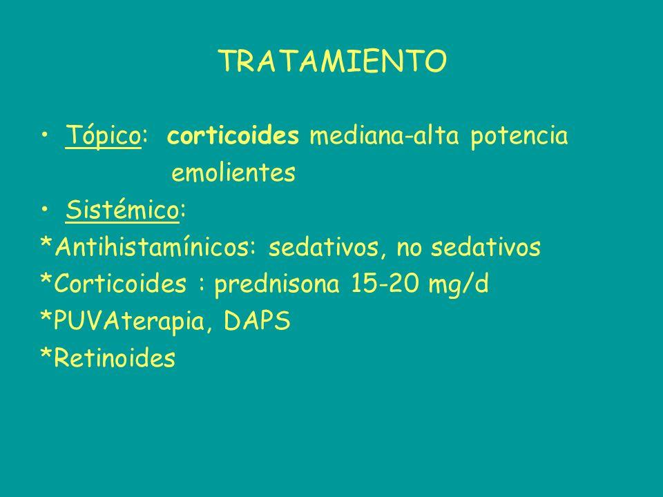 TRATAMIENTO Tópico: corticoides mediana-alta potencia emolientes