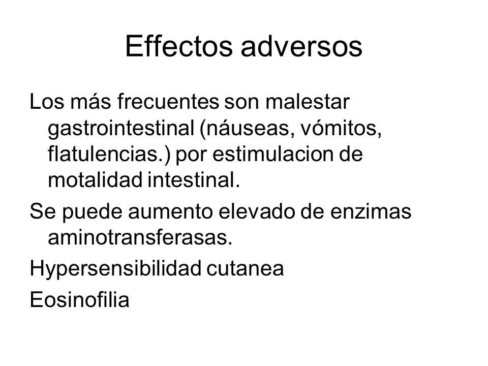 Effectos adversosLos más frecuentes son malestar gastrointestinal (náuseas, vómitos, flatulencias.) por estimulacion de motalidad intestinal.