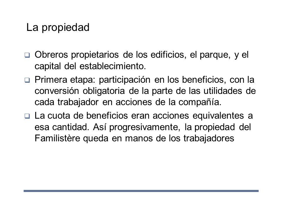 La propiedad Obreros propietarios de los edificios, el parque, y el capital del establecimiento.