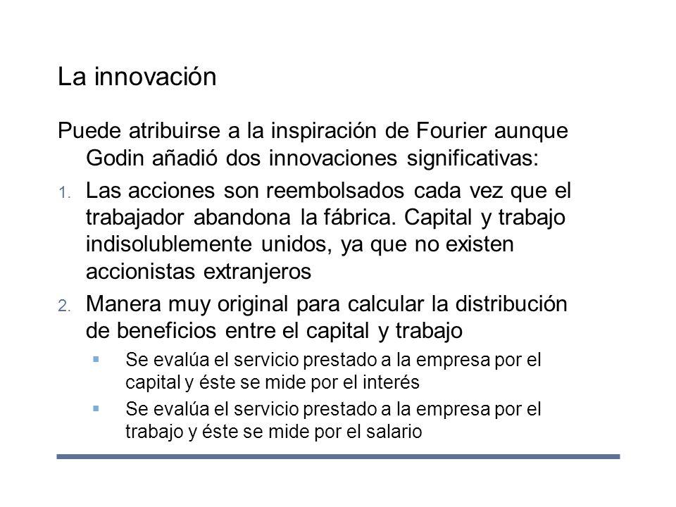 La innovación Puede atribuirse a la inspiración de Fourier aunque Godin añadió dos innovaciones significativas:
