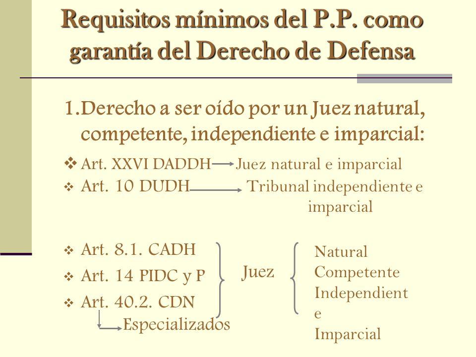 Requisitos mínimos del P.P. como garantía del Derecho de Defensa