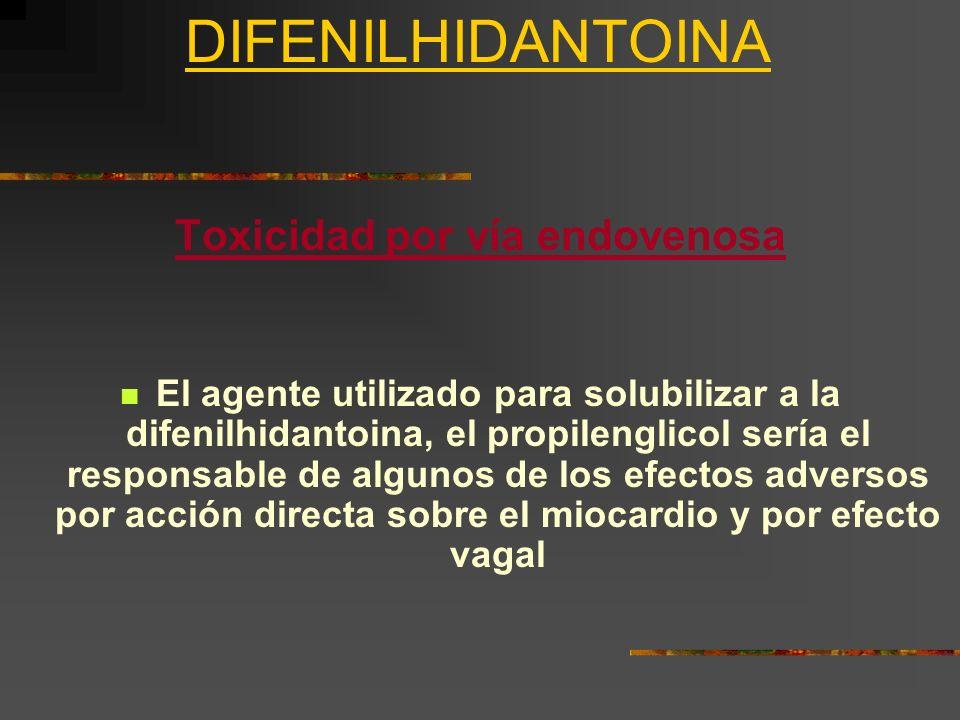 Toxicidad por vía endovenosa