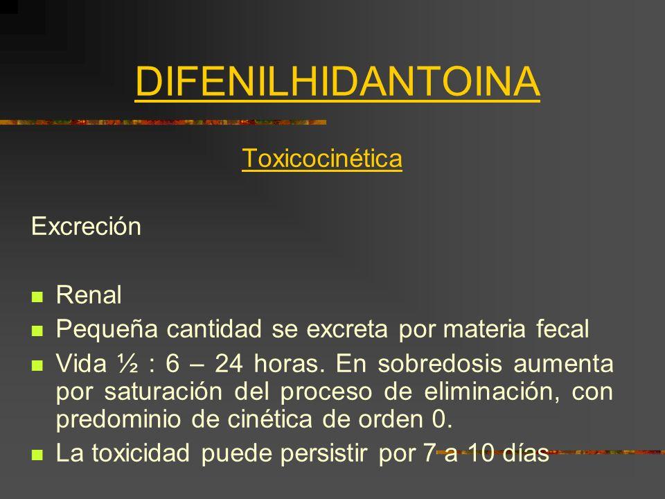 DIFENILHIDANTOINA Toxicocinética Excreción Renal