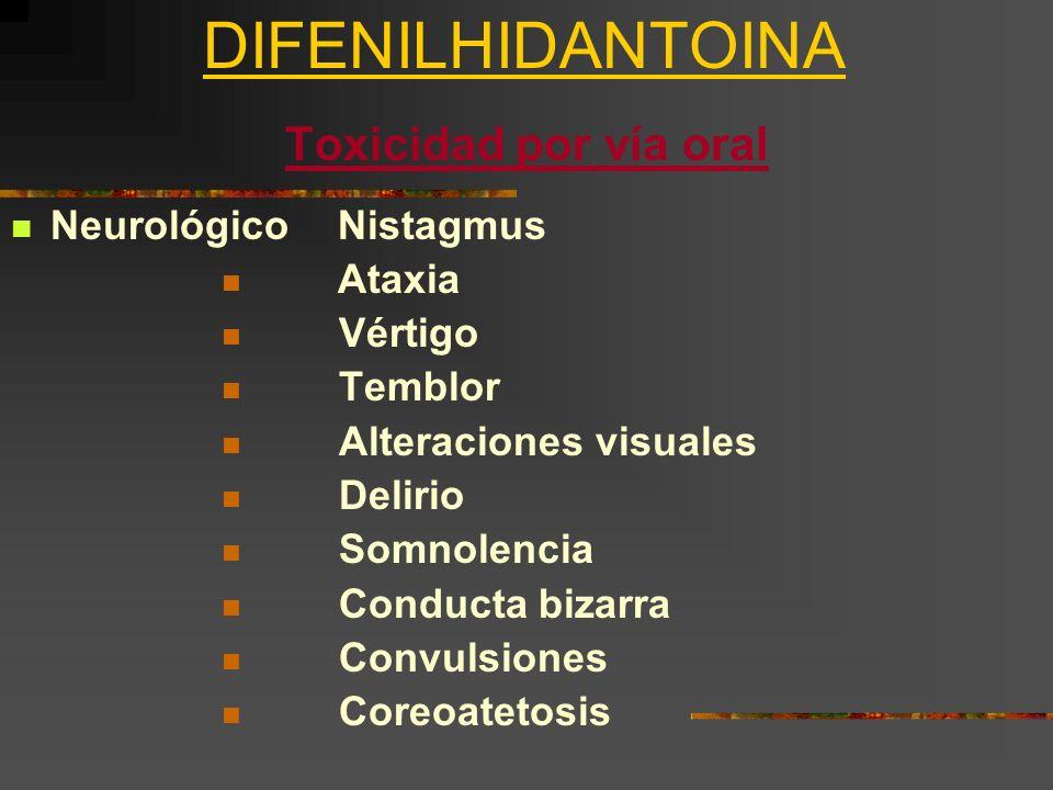 DIFENILHIDANTOINA Toxicidad por vía oral Neurológico Nistagmus Ataxia