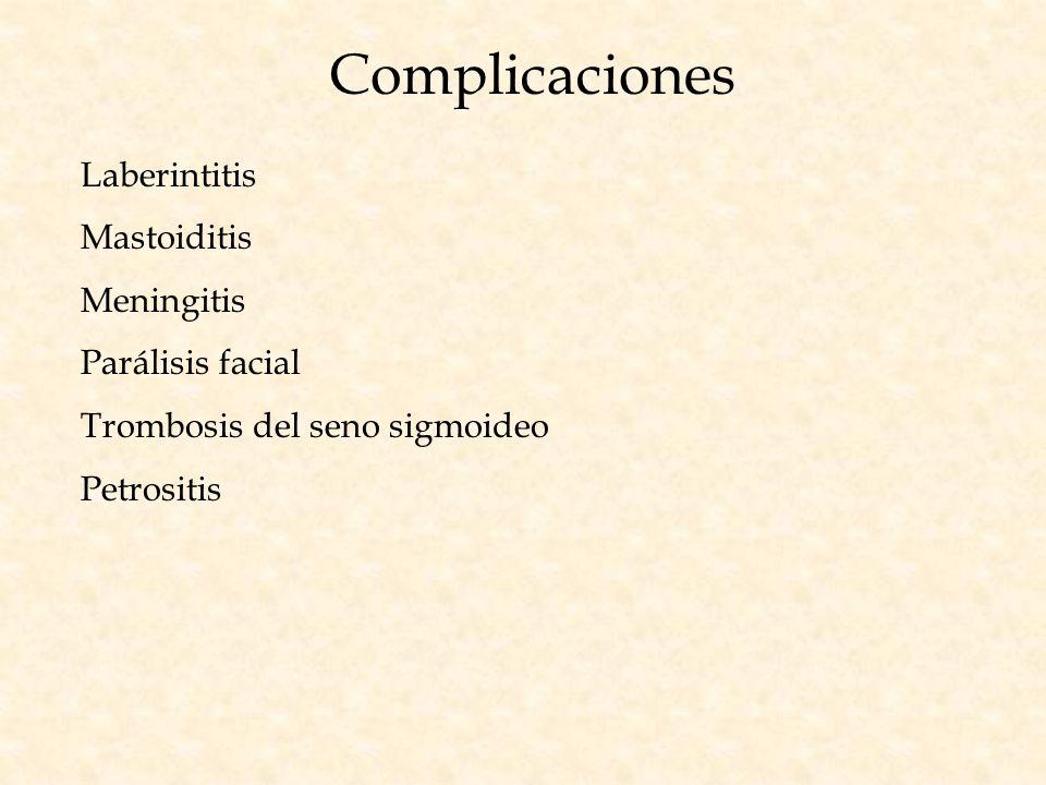 Complicaciones Laberintitis Mastoiditis Meningitis Parálisis facial