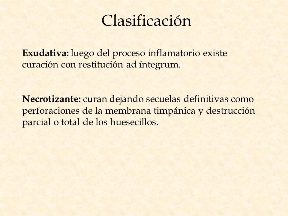 Clasificación Exudativa: luego del proceso inflamatorio existe curación con restitución ad íntegrum.