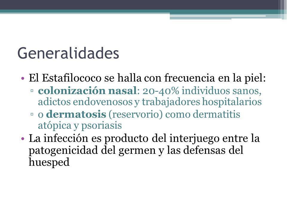 Generalidades El Estafilococo se halla con frecuencia en la piel: