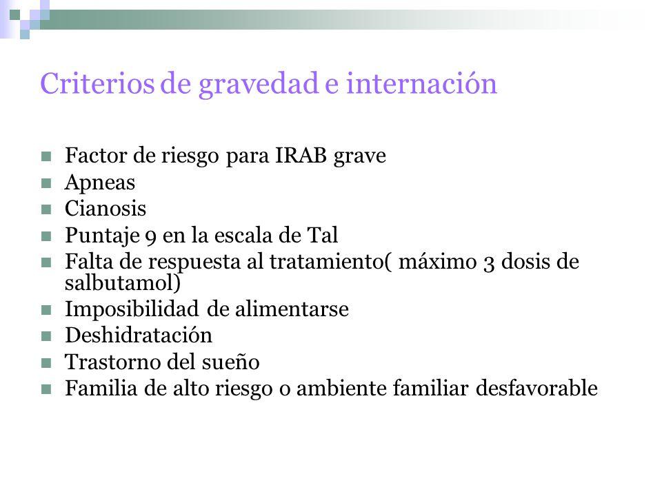 Criterios de gravedad e internación
