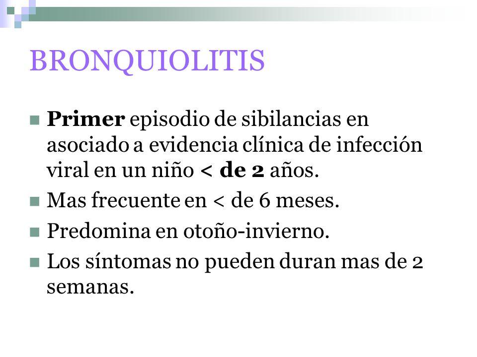 BRONQUIOLITIS Primer episodio de sibilancias en asociado a evidencia clínica de infección viral en un niño < de 2 años.