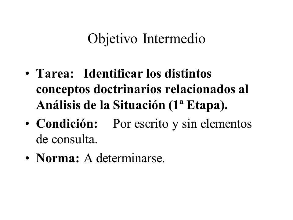 Objetivo Intermedio Tarea: Identificar los distintos conceptos doctrinarios relacionados al Análisis de la Situación (1ª Etapa).