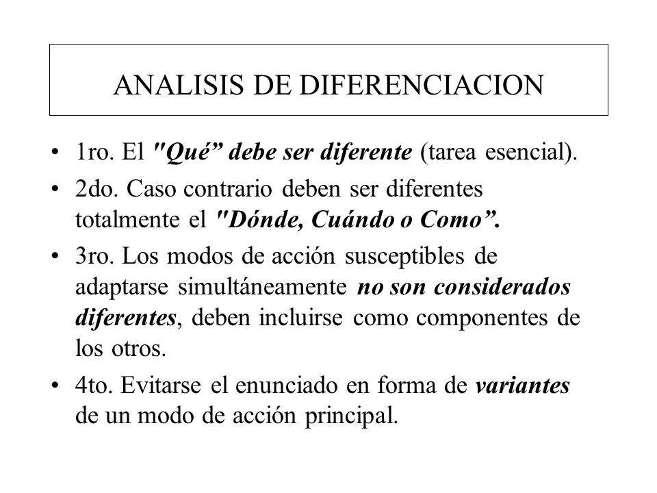 ANALISIS DE DIFERENCIACION