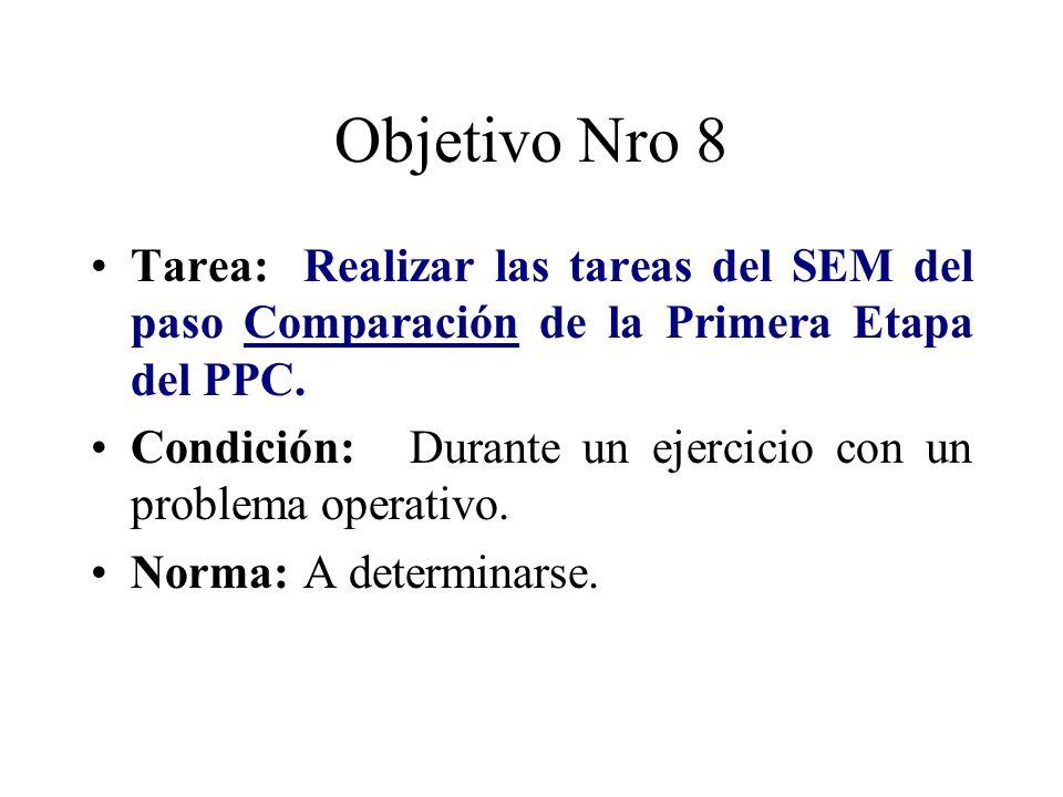 Objetivo Nro 8 Tarea: Realizar las tareas del SEM del paso Comparación de la Primera Etapa del PPC.