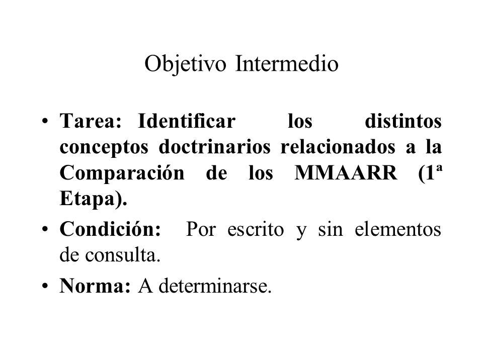 Objetivo Intermedio Tarea: Identificar los distintos conceptos doctrinarios relacionados a la Comparación de los MMAARR (1ª Etapa).