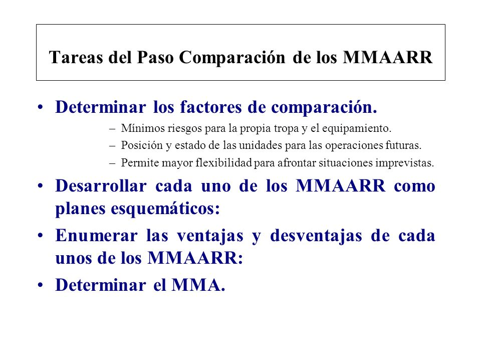 Tareas del Paso Comparación de los MMAARR