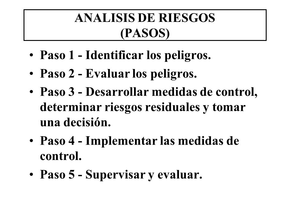 ANALISIS DE RIESGOS (PASOS)