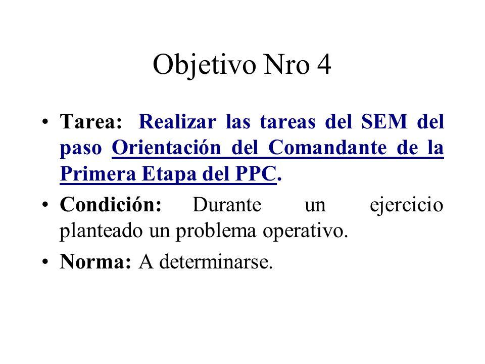Objetivo Nro 4 Tarea: Realizar las tareas del SEM del paso Orientación del Comandante de la Primera Etapa del PPC.