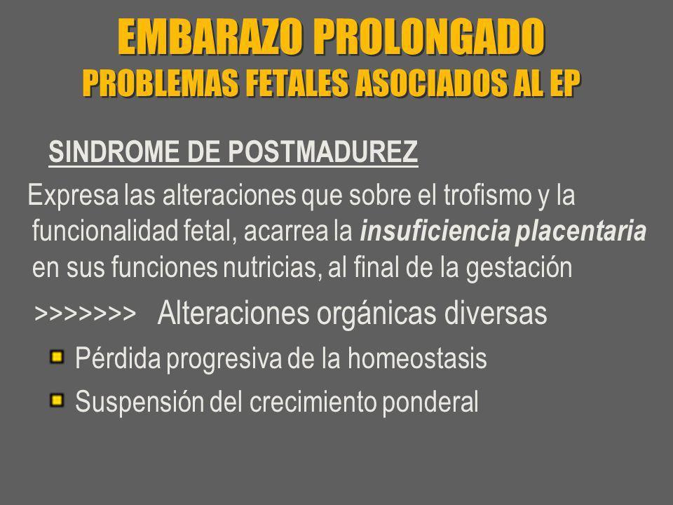 EMBARAZO PROLONGADO PROBLEMAS FETALES ASOCIADOS AL EP