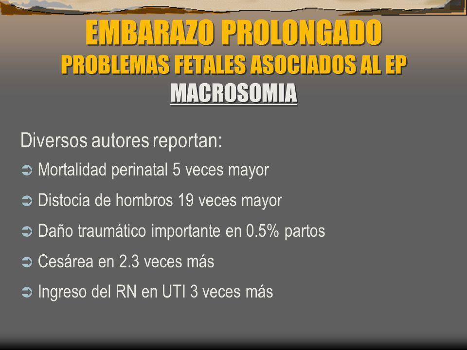 EMBARAZO PROLONGADO PROBLEMAS FETALES ASOCIADOS AL EP MACROSOMIA