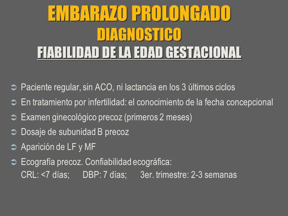 EMBARAZO PROLONGADO DIAGNOSTICO FIABILIDAD DE LA EDAD GESTACIONAL