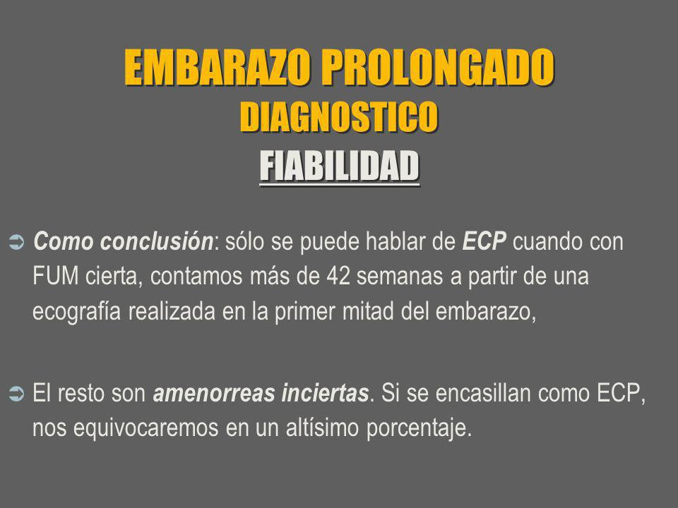 EMBARAZO PROLONGADO DIAGNOSTICO FIABILIDAD