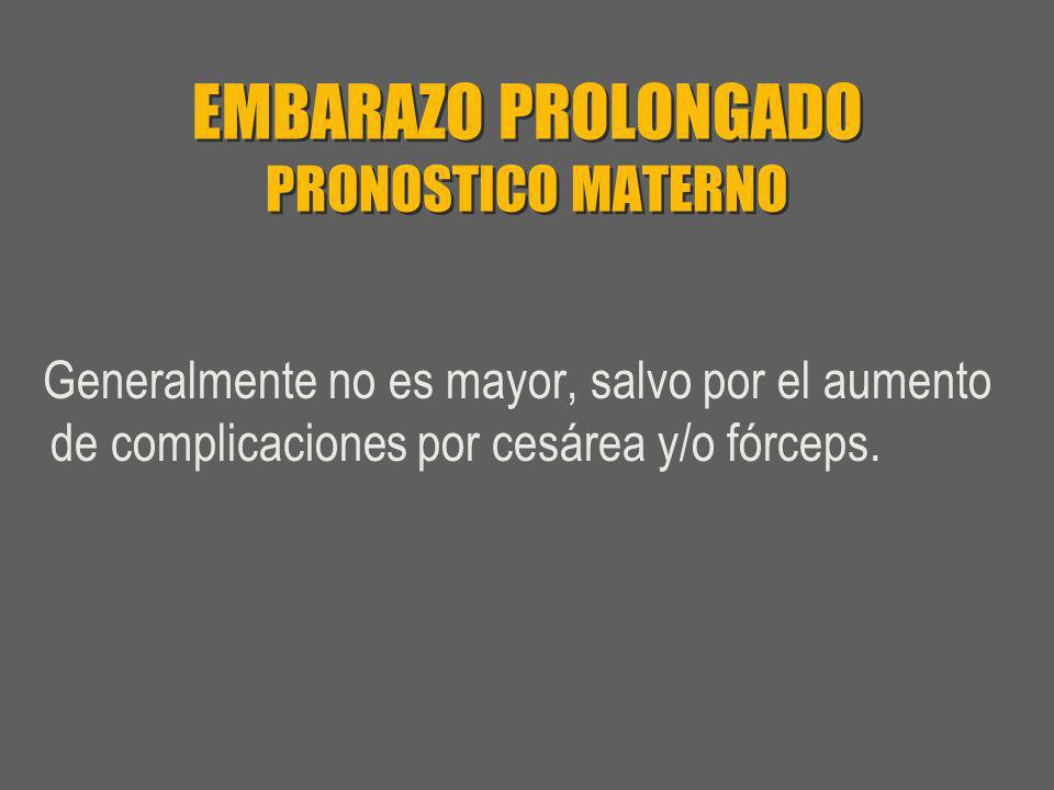 EMBARAZO PROLONGADO PRONOSTICO MATERNO