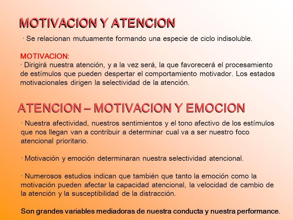 ATENCION – MOTIVACION Y EMOCION ATENCION – MOTIVACION Y EMOCION