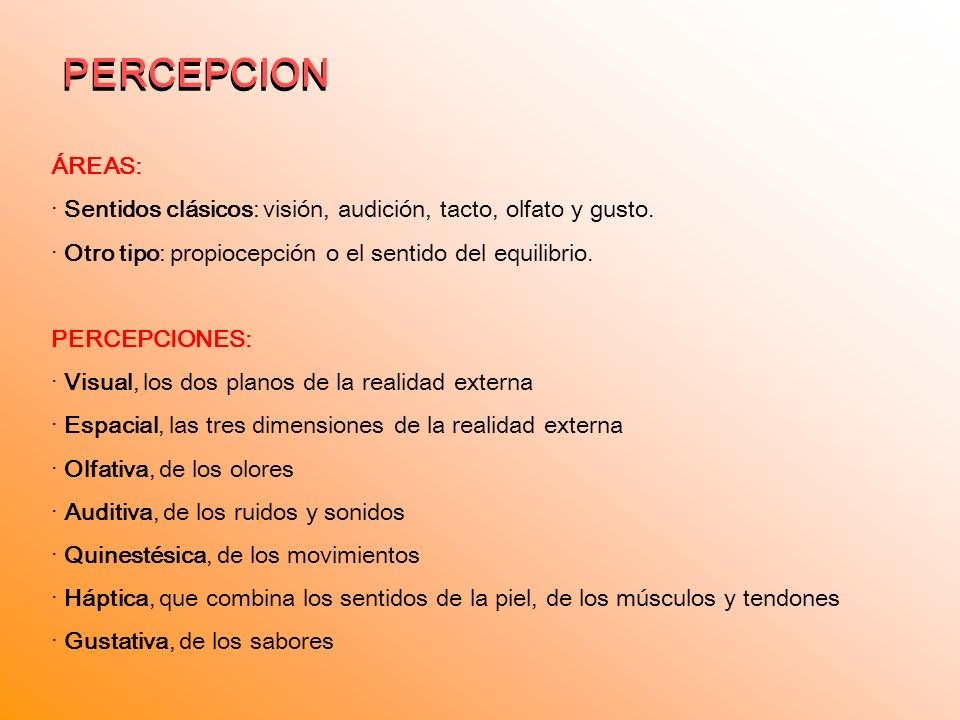PERCEPCION PERCEPCION ÁREAS: