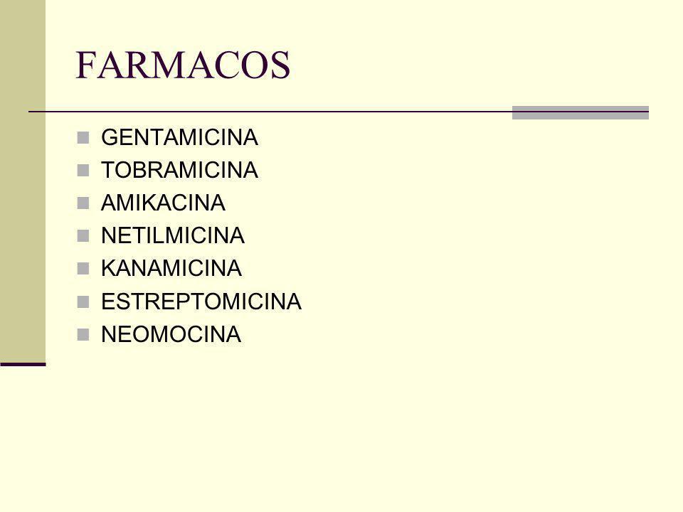 FARMACOS GENTAMICINA TOBRAMICINA AMIKACINA NETILMICINA KANAMICINA