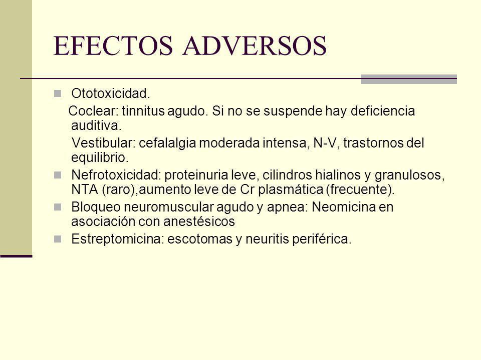 EFECTOS ADVERSOS Ototoxicidad.