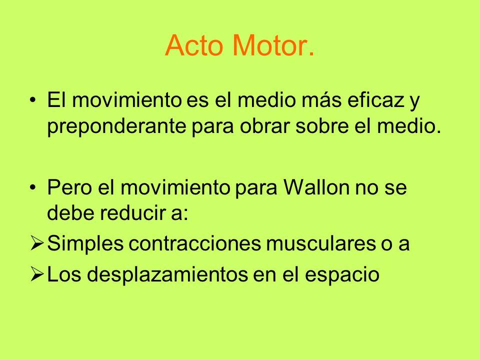 Acto Motor. El movimiento es el medio más eficaz y preponderante para obrar sobre el medio. Pero el movimiento para Wallon no se debe reducir a: