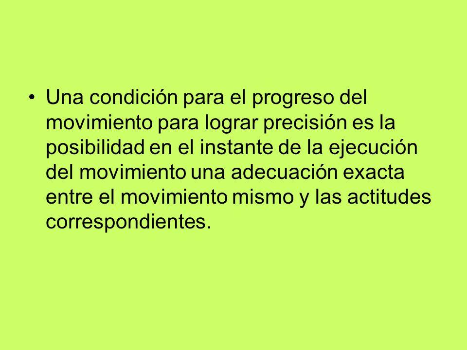 Una condición para el progreso del movimiento para lograr precisión es la posibilidad en el instante de la ejecución del movimiento una adecuación exacta entre el movimiento mismo y las actitudes correspondientes.