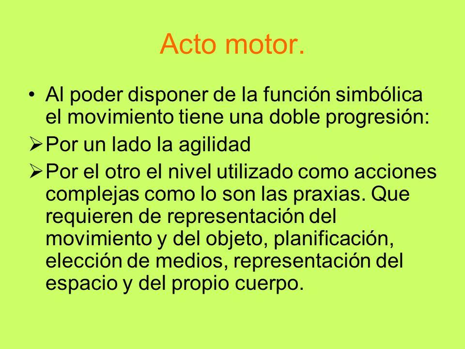 Acto motor. Al poder disponer de la función simbólica el movimiento tiene una doble progresión: Por un lado la agilidad.