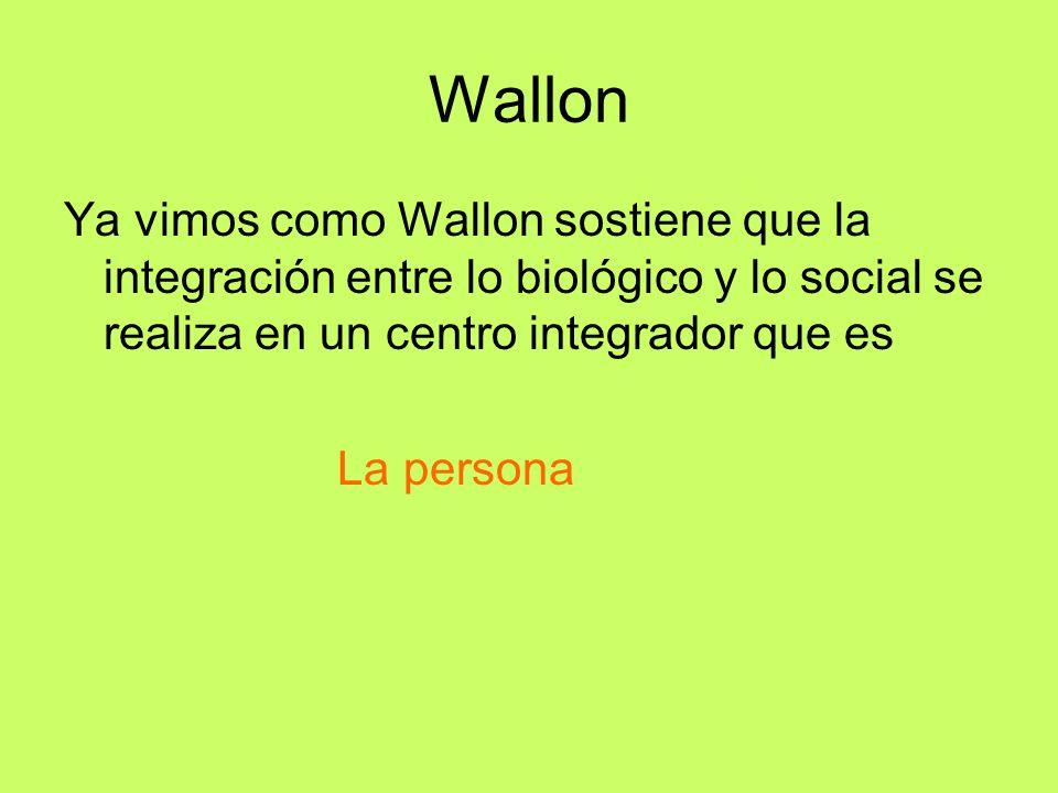 Wallon Ya vimos como Wallon sostiene que la integración entre lo biológico y lo social se realiza en un centro integrador que es.