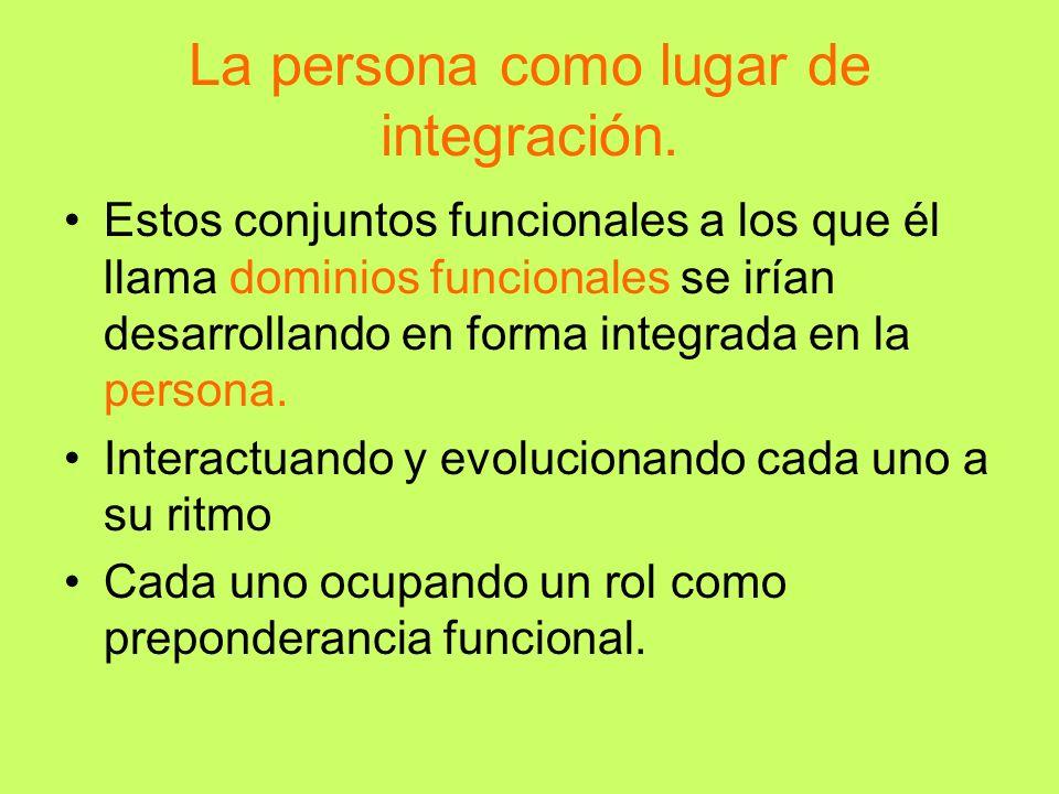 La persona como lugar de integración.