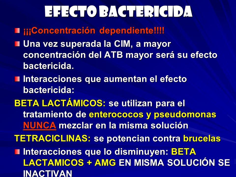 Efecto bactericida ¡¡¡Concentración dependiente!!!!