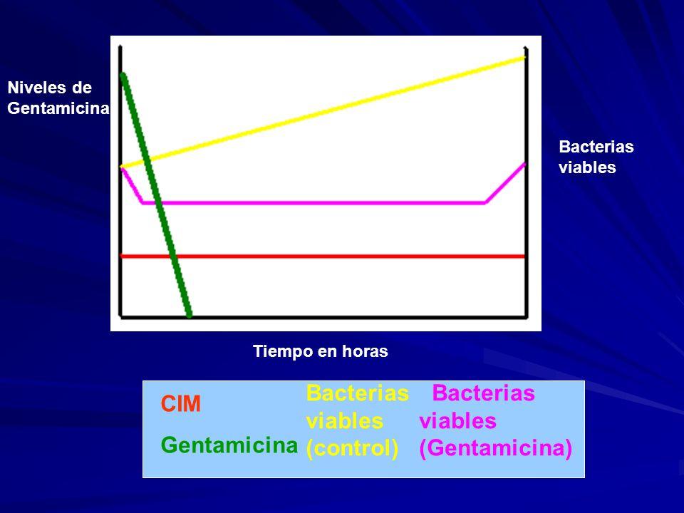 Bacterias viables (control) Bacterias viables (Gentamicina) CIM