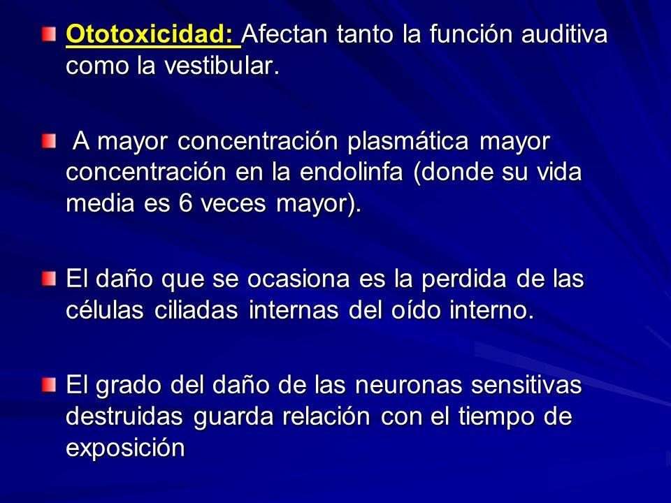 Ototoxicidad: Afectan tanto la función auditiva como la vestibular.