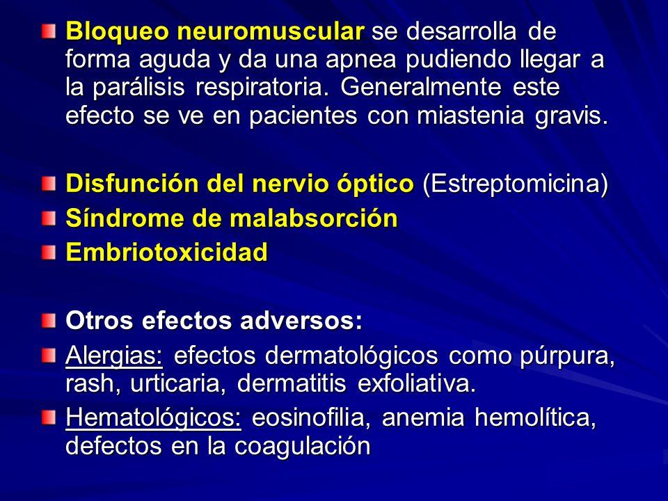Bloqueo neuromuscular se desarrolla de forma aguda y da una apnea pudiendo llegar a la parálisis respiratoria. Generalmente este efecto se ve en pacientes con miastenia gravis.