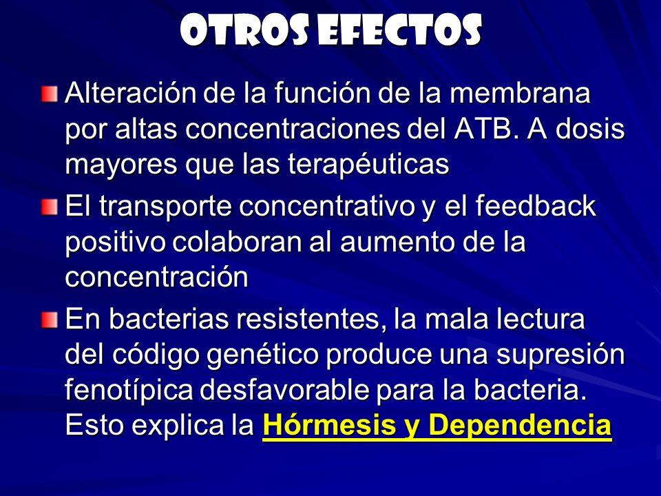 Otros efectos Alteración de la función de la membrana por altas concentraciones del ATB. A dosis mayores que las terapéuticas.
