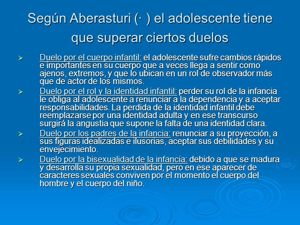 Según Aberasturi (· ) el adolescente tiene que superar ciertos duelos