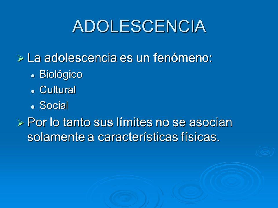ADOLESCENCIA La adolescencia es un fenómeno: