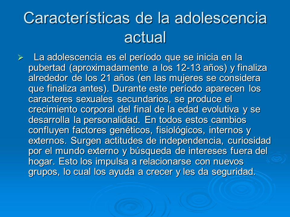Características de la adolescencia actual