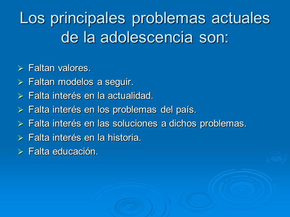 Los principales problemas actuales de la adolescencia son: