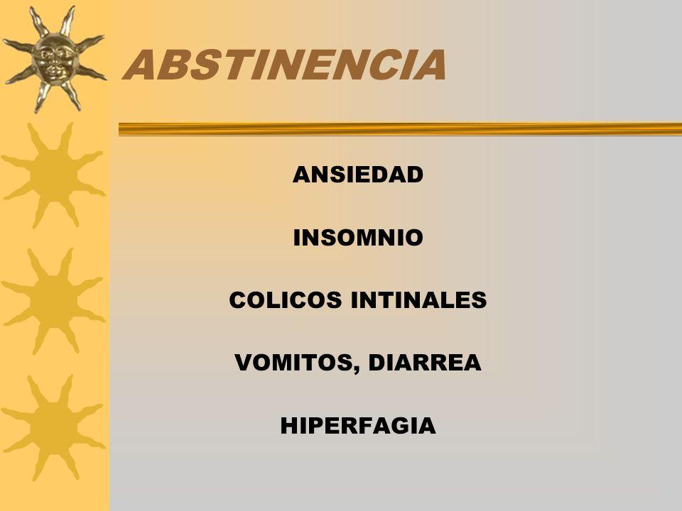 ABSTINENCIA ANSIEDAD INSOMNIO COLICOS INTINALES VOMITOS, DIARREA
